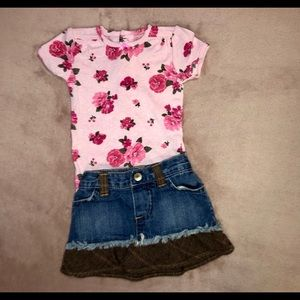 Old Navy Denim and Brown Skirt 6-12 Months